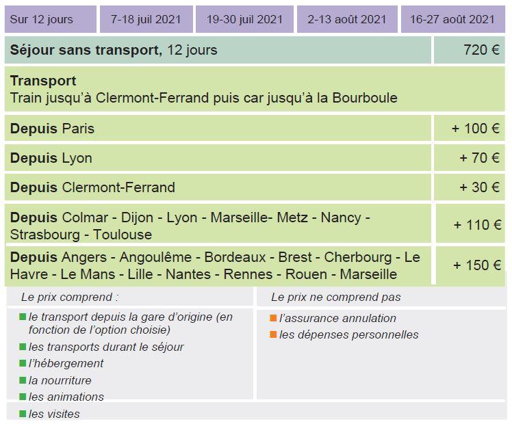 Dates et Tarifs - Séjours Eté - La Bourboule- Auvergne - Le Temps des Copains - LTC