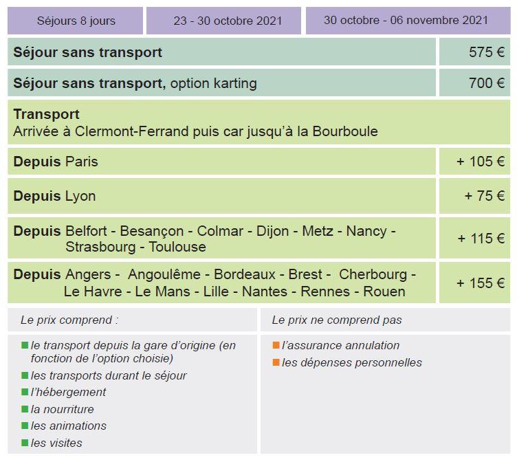 Dates et Tarifs - Séjours Automne - Auvergne - La Bourboule - Le Temps Des Copains - LTC