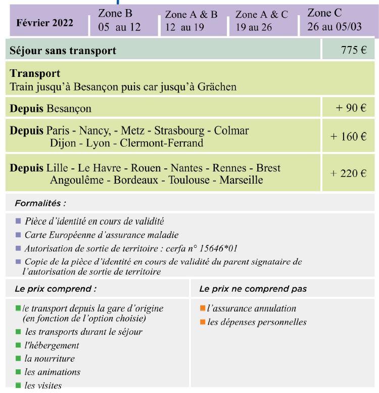 Dates et Prix - Séjours Hiver - Suisse - Grächen - Le Temps Des Copains - LTC