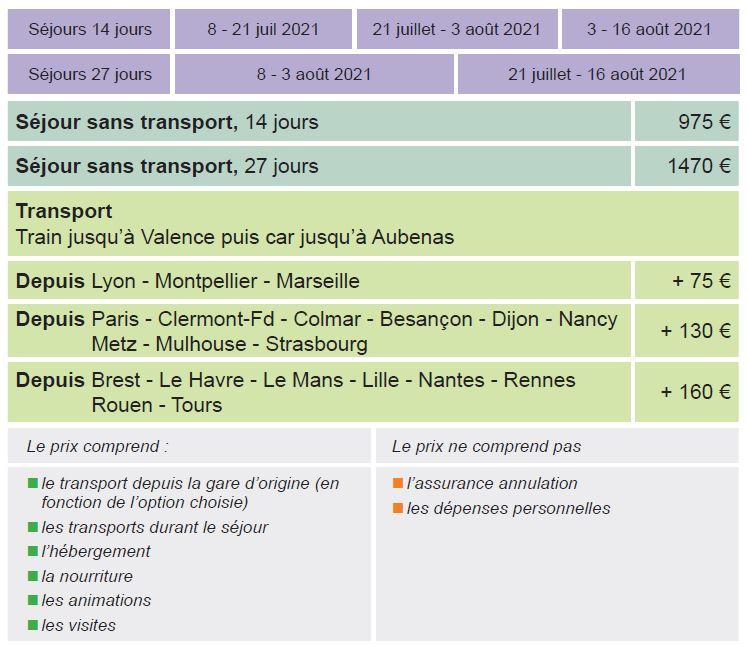Dates et Tarifs - Séjours Eté - Aubenas - Ardèche - Le Temps Des Copains - LTC