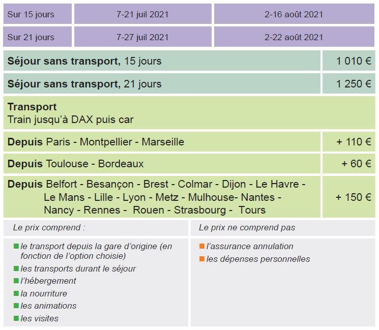 Dates et Tarifs - Le Centre - Séjours Eté - Dax- Les Landes - Le Temps Des Copains - LTC