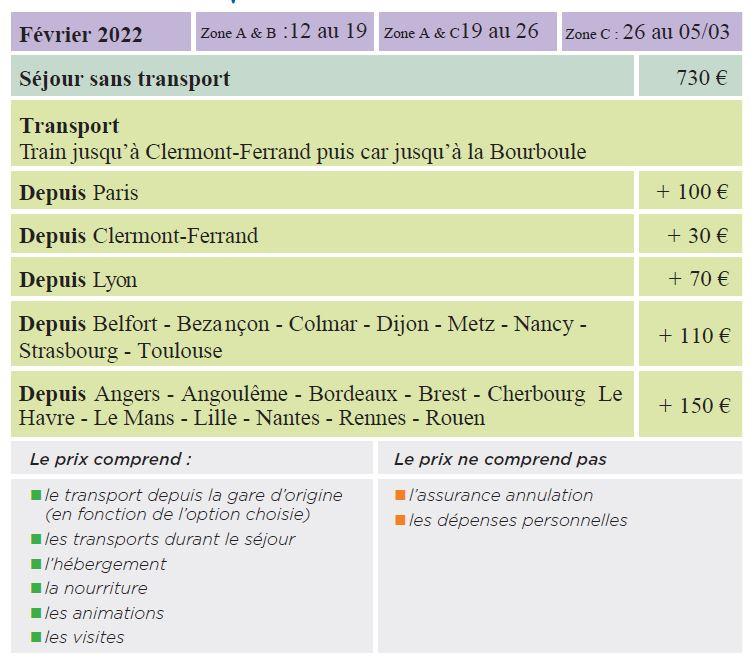 Dates et Tarifs - Séjours Hiver - Auvergne - La Bourboule - Le Temps Des Copains - LTC